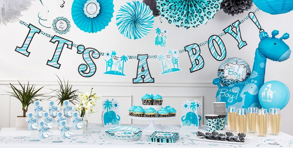 Blue Safari Baby Shower Decorations Party City Canada Baby Boy