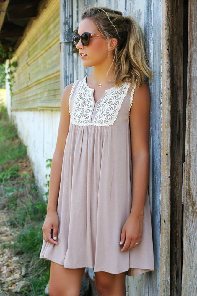 ca6fce2b1764 As The Sun Sets Mocha Tank Dress With Floral Crochet Bib Details ...