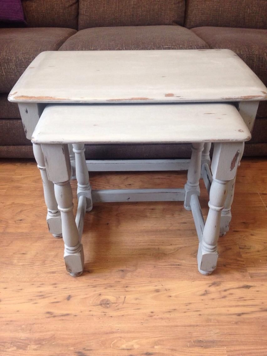 Shabby chic nest of tables painted in annie sloan paris