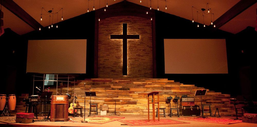 Vintage Warmth Stage Design From Christ Community Church In Ardmore, OK |  Church Stage Design