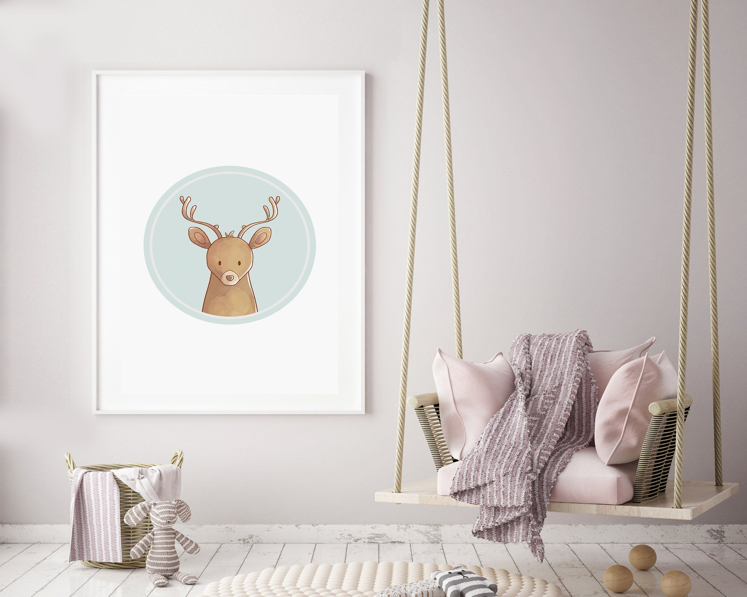 Deer Wall Art - Blue Deer Prints - Nursery Print
