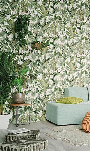 Eine interessante Tapete reicht noch nicht für\u0027s tropische Zimmer - wohnzimmer creme grun