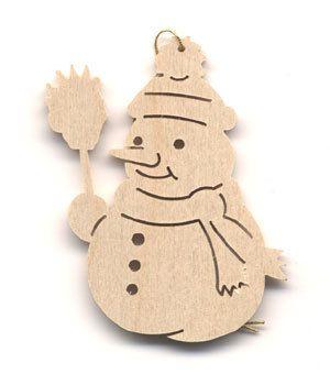 Baumschmuck Schneemann Holz Natur 6 Stk Packung Weihnachtsdeko