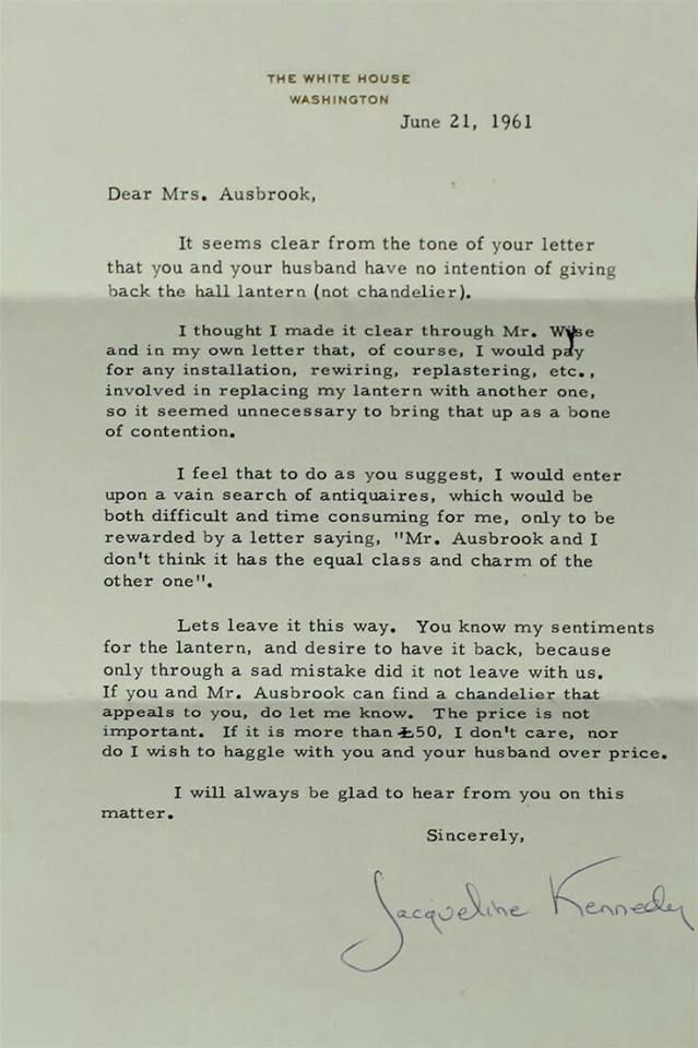 1963 Letter From Jackie Kennedy Family Lettering Jacqueline