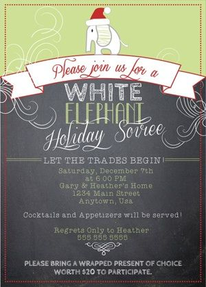 "christmas party invites ""white elephant""  google search  event, party invitations"