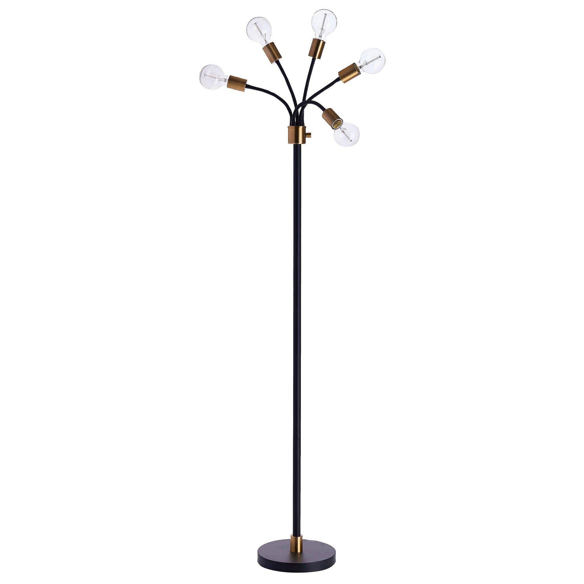 Exposed Bulb Multi Head Floor Lamp Brass Project 62 Brass Floor Lamp Floor Lamp Makeover Floor Lamp