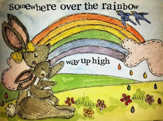 Somewhere over the Rainbow 5'' x 7'' by MyPaintedBear on Etsy, £20.00