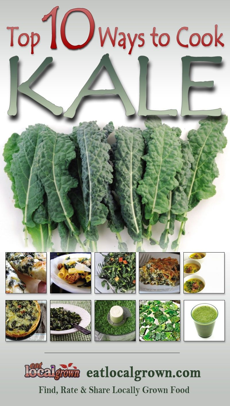 """#Kale is considered to be one of the Super Foods for those concerned with eating healthy, local grown diets. According to Wikipedia, """"Kale is very high in beta carotene, vitamin K, vitamin C, lutein, zeaxanthin, and reasonably rich in calcium. Until the end of the Middle Ages, kale was one of the most common green vegetables in all of Europe."""" Click to see the top ten ways to prepare Kale..."""