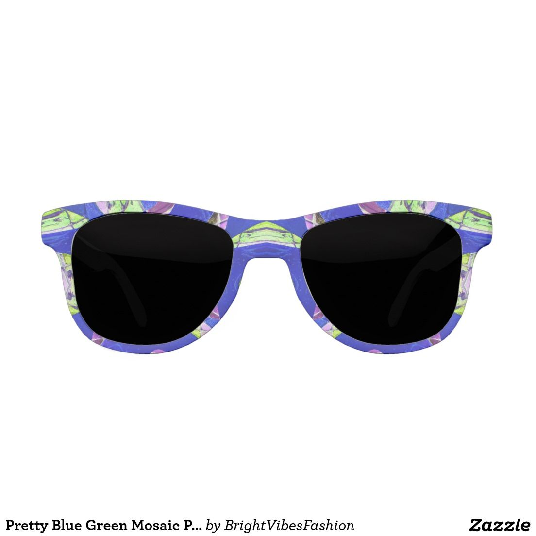 Pretty Blue Green Mosaic Pattern Sunglasses