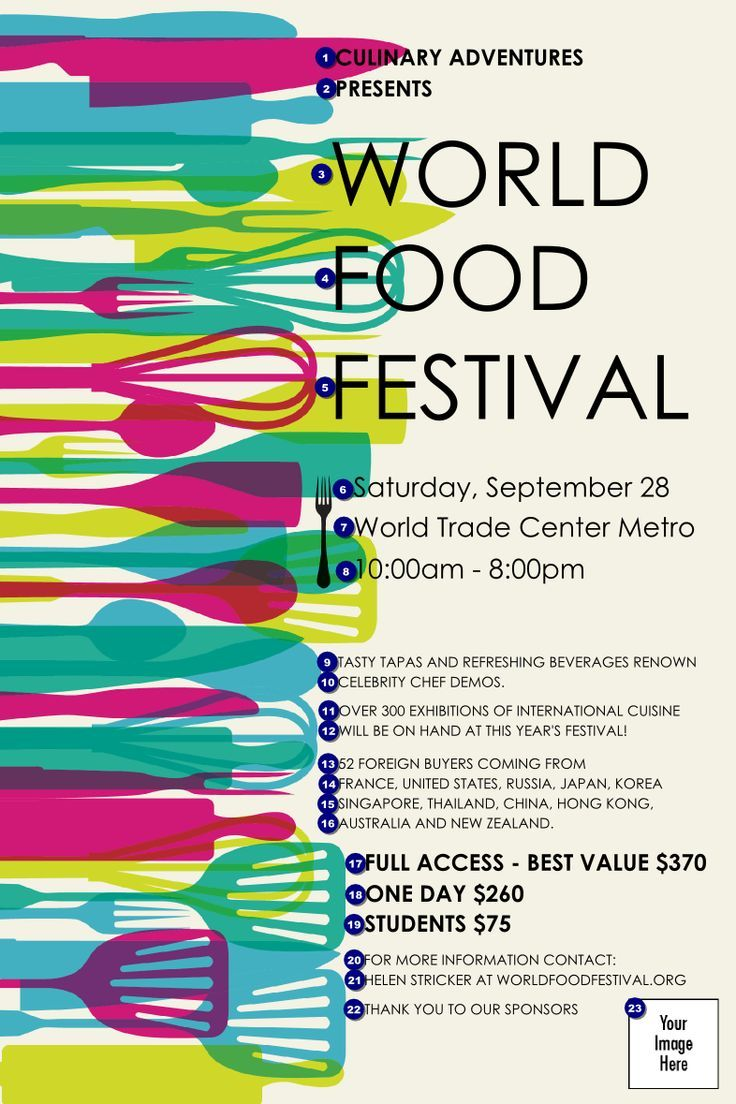 Poster design and printing online - World Food Festival Poster Ticket Printing
