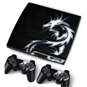 Vinyl Skin Sticker For PlayStation PS3 S SLIM Game Console - Cover Protector Art Decal - Blue Dragon