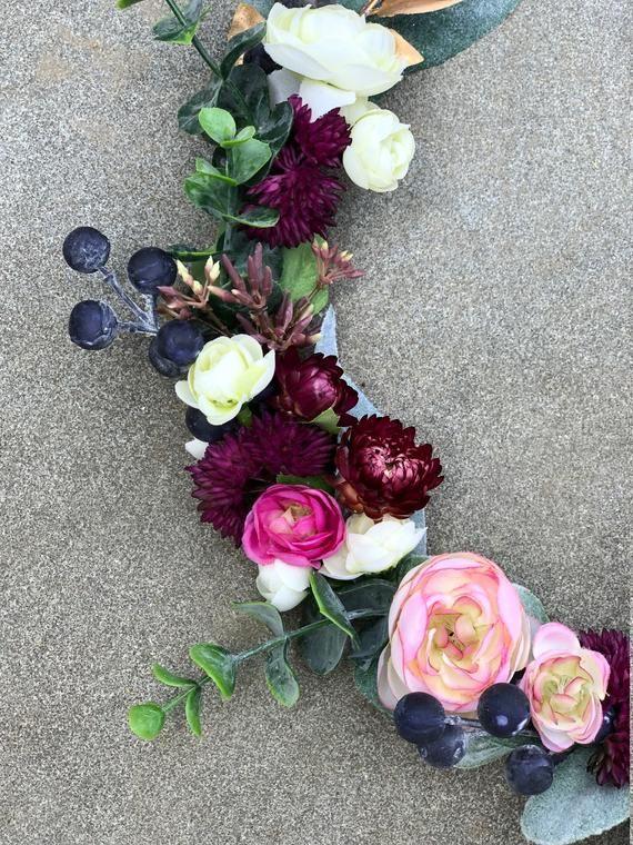 Photo of Floral hoop wreath, Modern Spring wreath, Spring hoop wreath, Blush Nursery decor, Modern Nursery, gift for mother, Boho Nursery Decor
