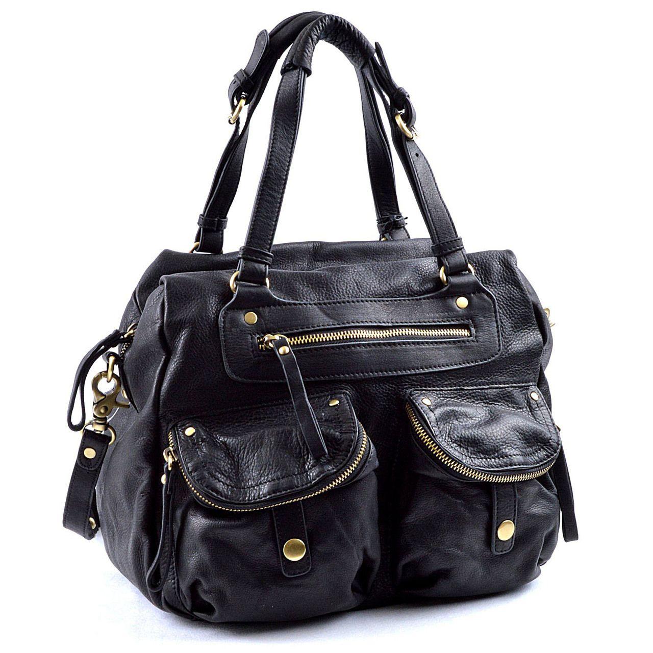 Authentic Designer Handbags Sabina New York Convertible Pocket Satchel In Genuine Top Grain Leather
