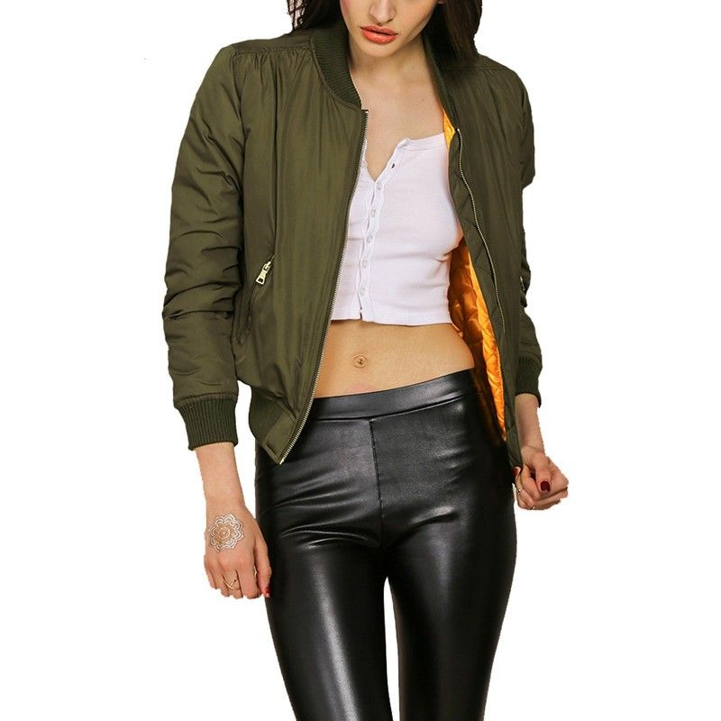 uk cheap sale compare price amazing selection 2016 Autumn Winter Women Olive Flight Army Green Bomber ...