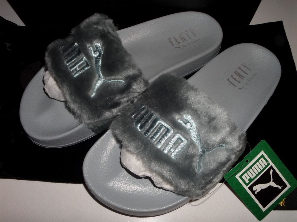 e7a30ea6d0a686 PUMA RIHANNA LEADCAT FENTY Fur Sliders QUARRY Slippers 362266 Shoes UK 7  GENUINE  PUMA