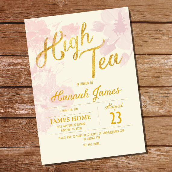 Pink watercolor floral high tea birthday party invitation pink and pink watercolor floral high tea birthday party invitation pink and gold birthday party invite stopboris Image collections