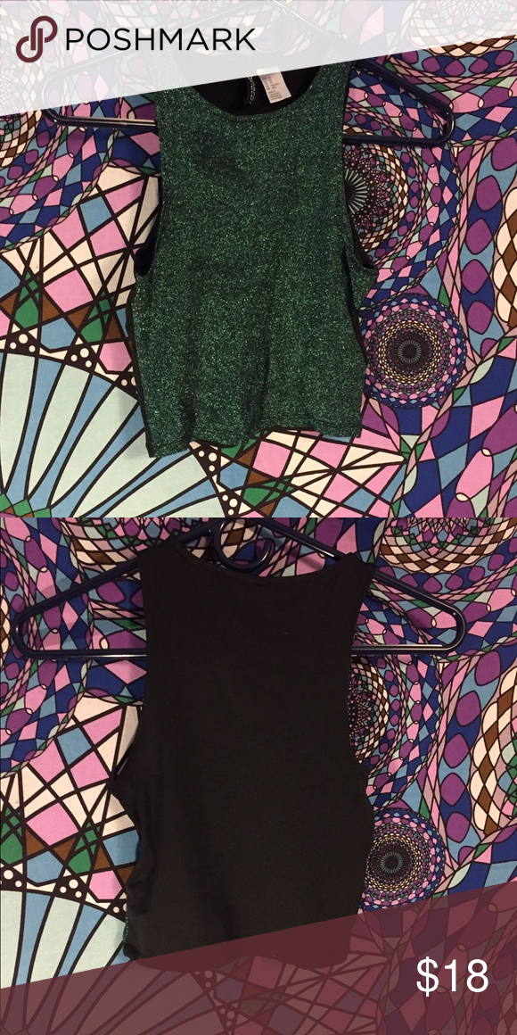 97844a4b6eb07 Sparkly Mermaid H M Crop Top Front is a sparkly green and the back is black.