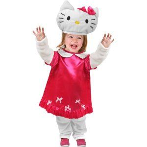 super cute pink and white hello kitty costume from toddler halloween costumes - Halloween Hello Kitty Costume