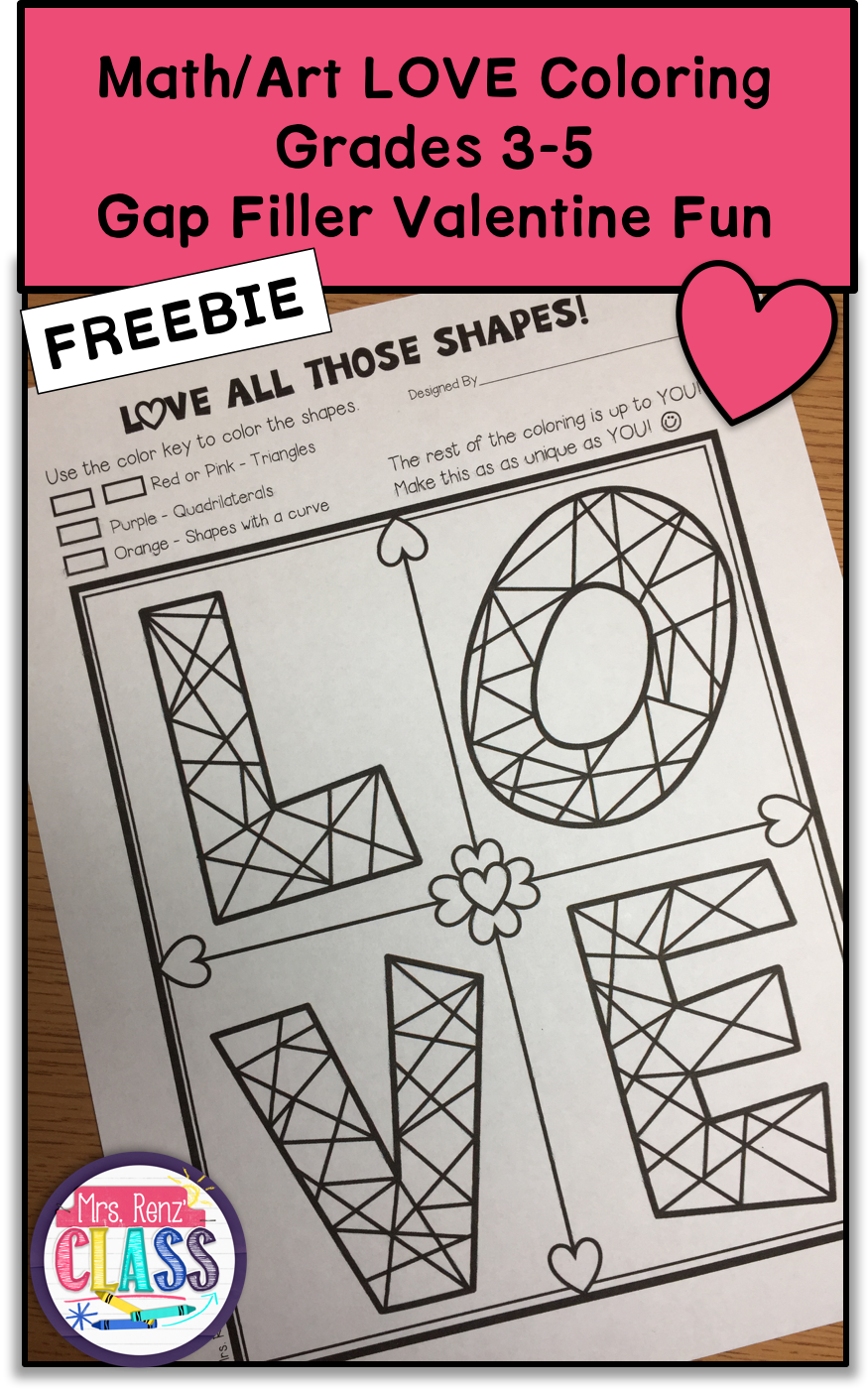 Math Art Valentine Coloring Sheet  Differentiated Grades 35
