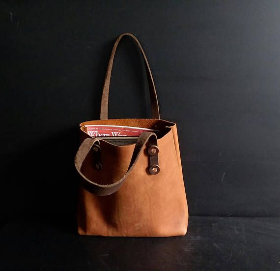 Handmade Leather Tote Bag - Leather Bag - Book Bag - Shoulder Bag - Work Bag  - Shopping Bag - Hand Sewn - Made in the USA - Copper - Fall 0096e0c643715