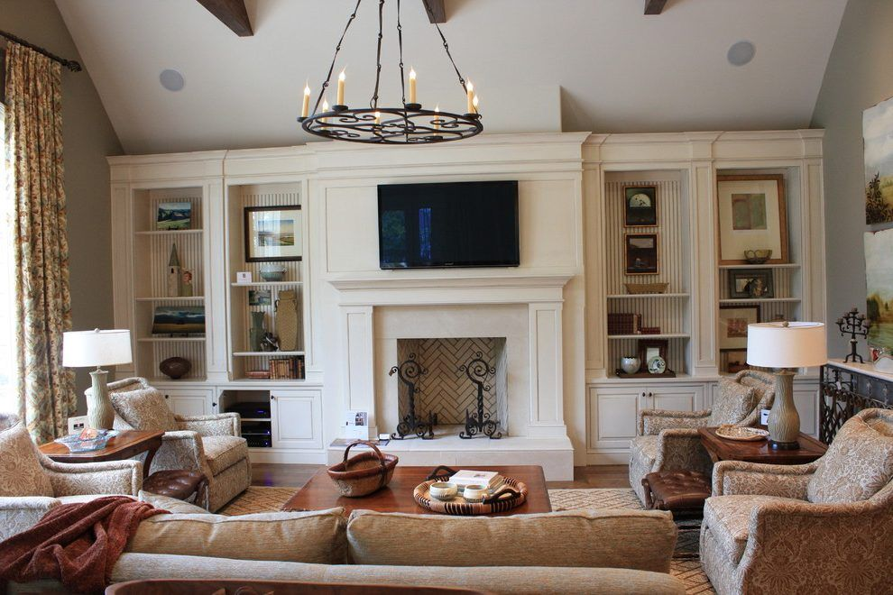 Family Room Built In Ideas Living Room Traditional With Wood Fireplace  Surround Vaulted Ceiling