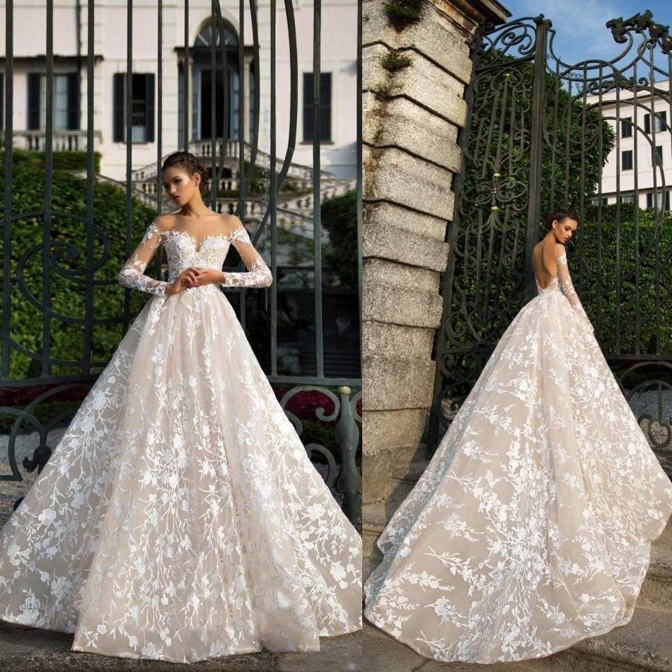 Long Sleeve Lace Gown Long Sleeve Wedding Dress Lace Wedding Gowns Lace Illusion Neckline Wedding Dress