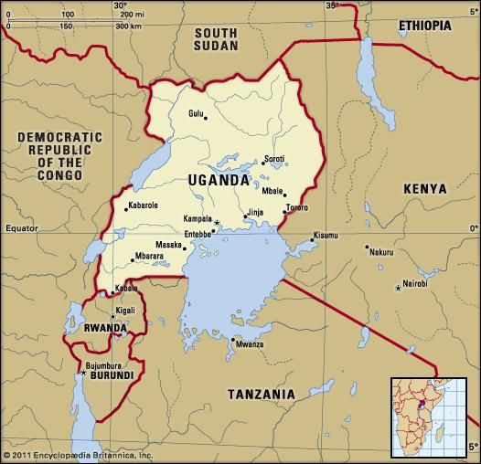 Uganda political map boundaries cities includes locator map uganda geographical and historical treatment of uganda including maps and statistics as well as a survey of its people economy and government gumiabroncs Images