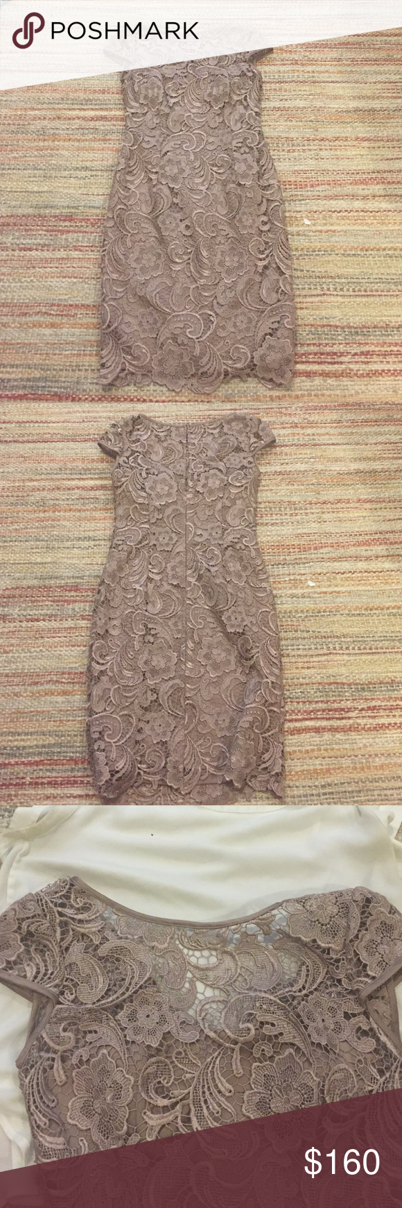 Adrianna Papell Lace Cocktail Dress Beautiful Adrianna Papell Lace Cap-Sleeve Illusion Sheath Dress. Only worn once, excellent condition! Keyhole in back. Gorgeous nude/taupe color with light sheen. Adrianna Papell Dresses