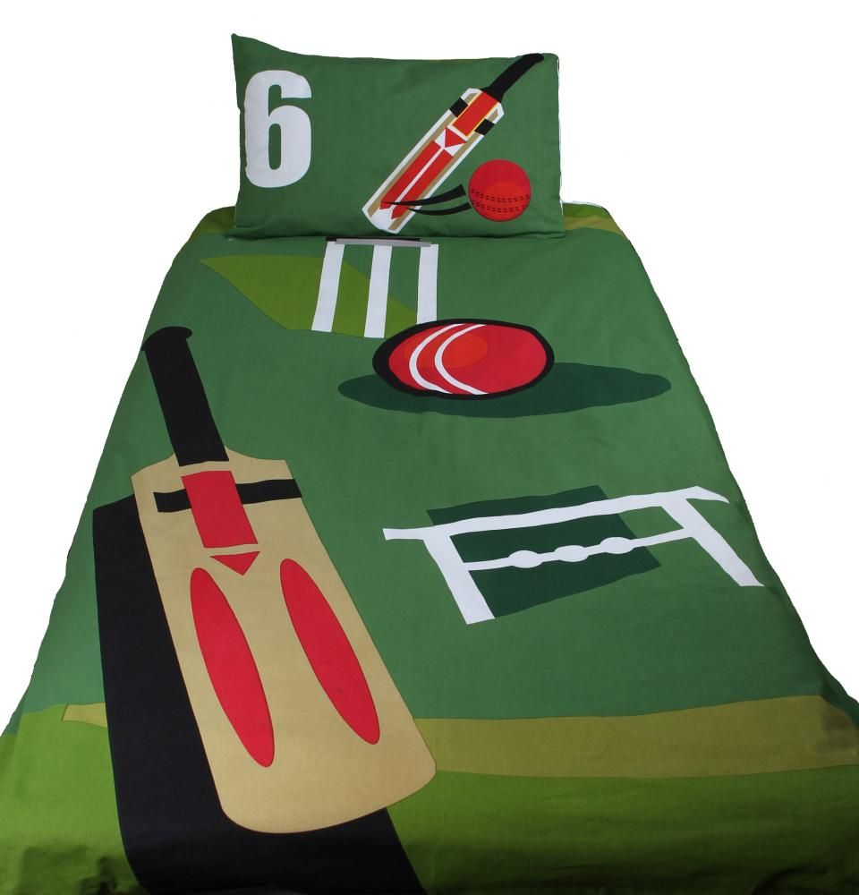 Front View Of Cricket Bedspread Duvet Sets Sport