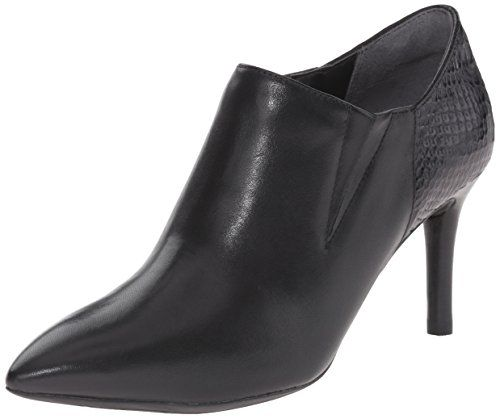 Rockport Women's Total Motion 75mm Pointy Toe Shootie Black Burn Calf/Snake  Emboss Boot 8
