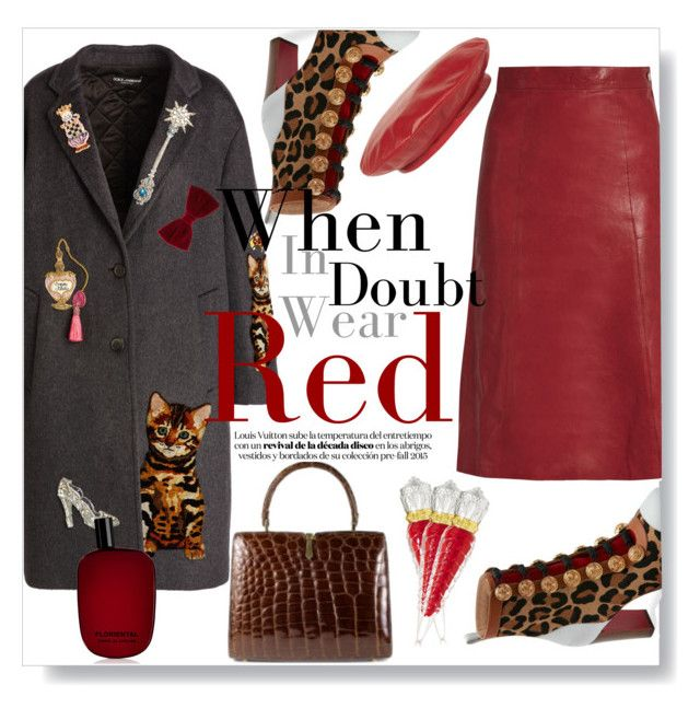 """When In Doubth Wear Red"" by vintagecarwen ❤ liked on Polyvore featuring Vanessa Bruno, Christian Louboutin, Dolce&Gabbana, Gucci, Comme des Garçons and vintage"