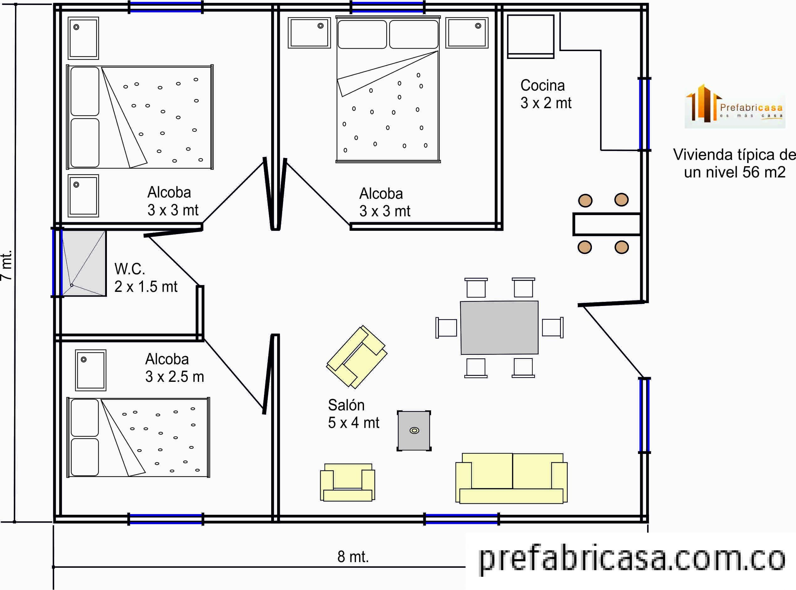 Plano Casa 60 M2 3 Habitaciones Prefabricada Buscar Con