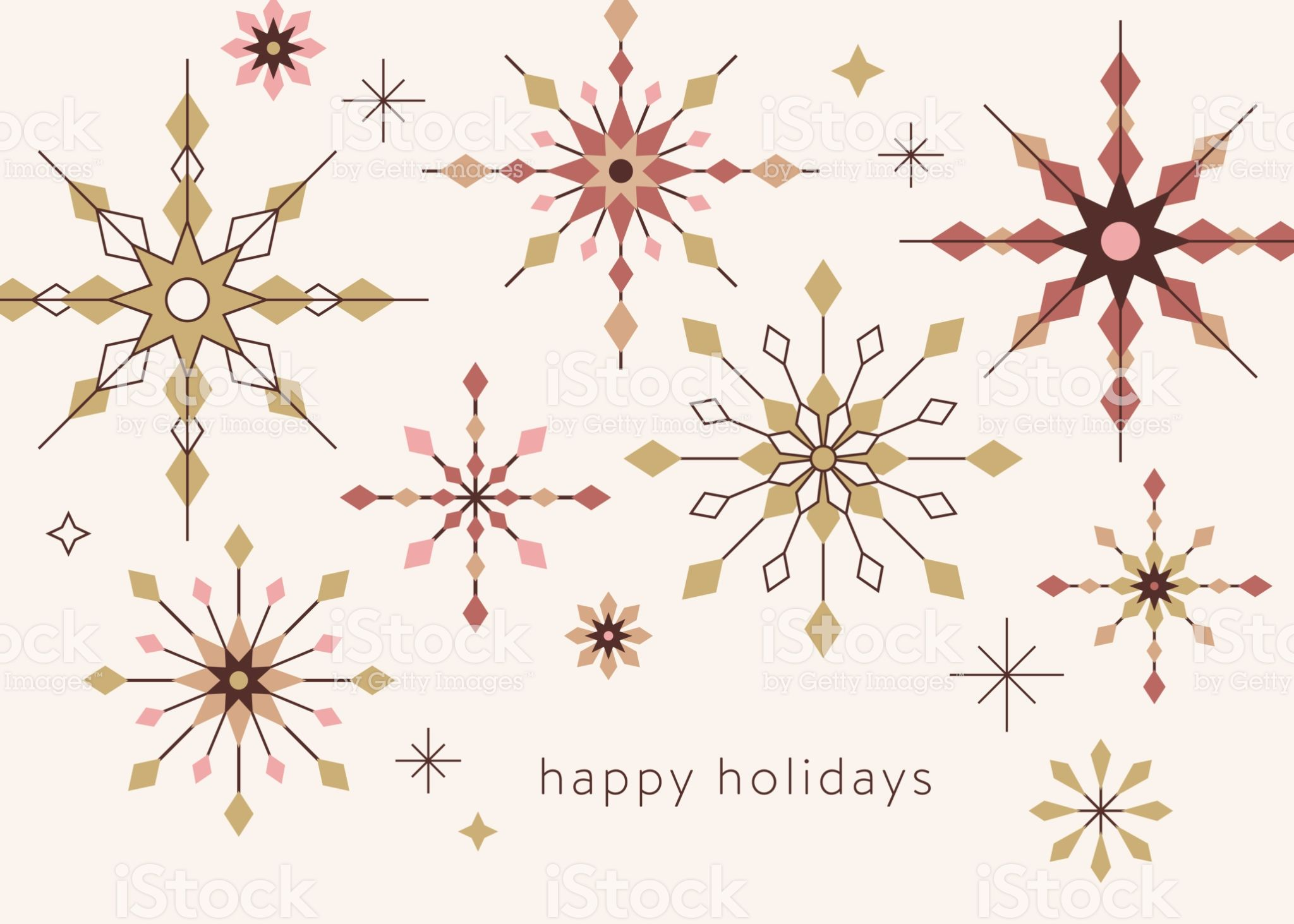 Geometric Snowflakes Background With Greetings Christmas