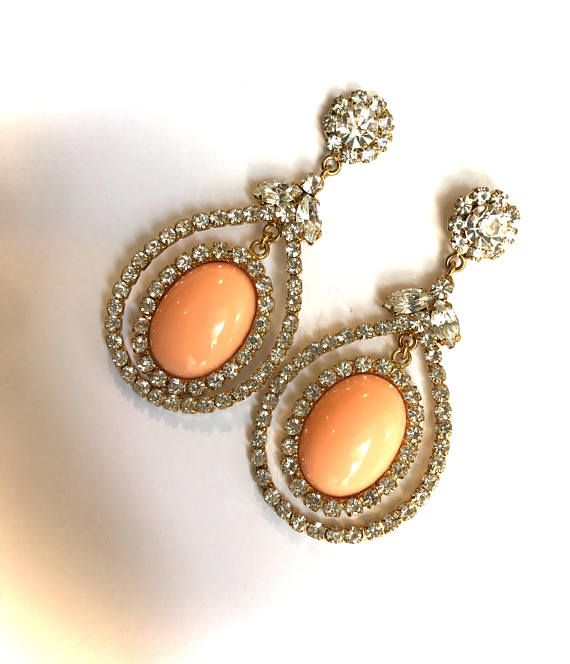 d3814043f Gorgeous Earrings Feature Luminous Coral Cabochons Nestled In Glittering  Crystal Pave Would Pair Beautifully with Many Items In My Shop, Including  The ...