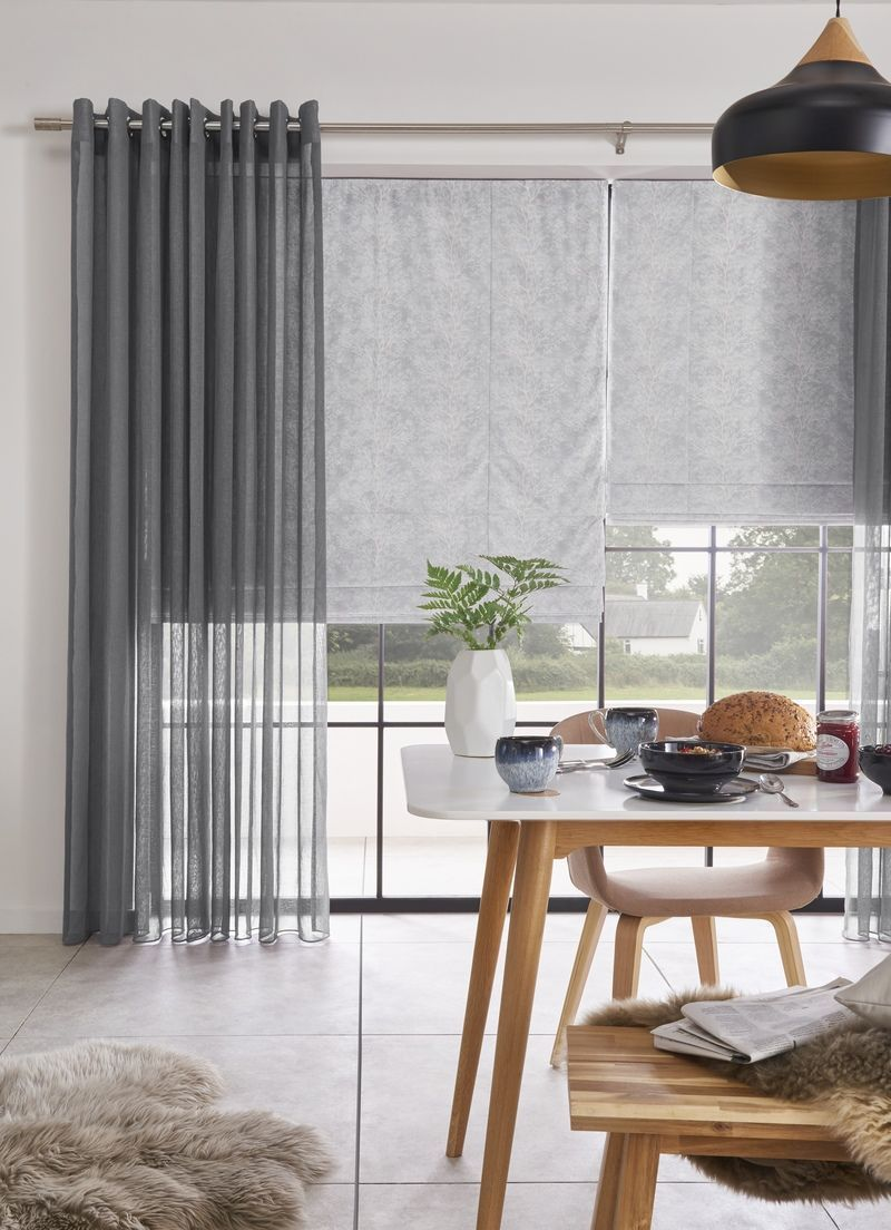Love A Simple Grey Colour Scheme Why Not Try Combining Roman Blinds With Voile Curtains To Add Text Roman Blinds Living Room Voile Curtains Blinds For Windows