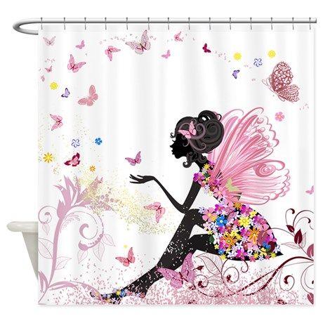 Whimsical Pink Flower Fairy Girl Bu Shower Curtain By Liviana