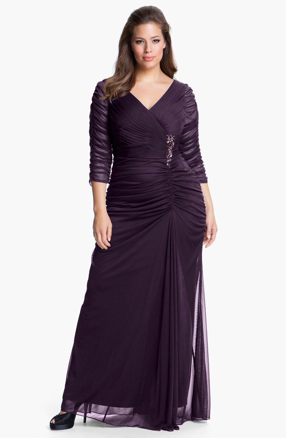 57c09502059 Free shipping and returns on Adrianna Papell Beaded Mesh Gown (Plus Size)  at Nordstrom.com. Ruched mesh overlays a statuesque V-neck gown fashioned  with ...