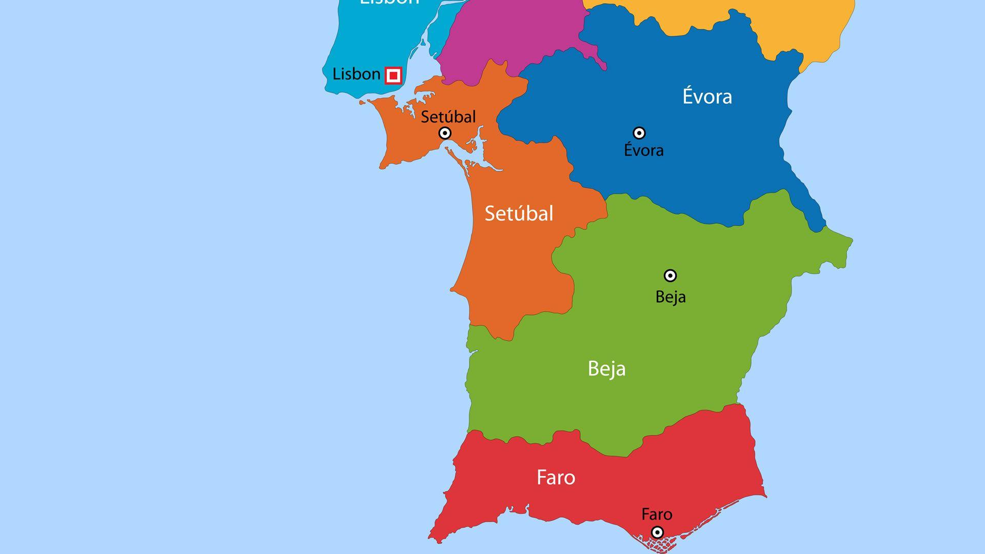 Mapa Político De Portugal Zona Sur Mapas Del Mundo Pinterest - Portugal mapa