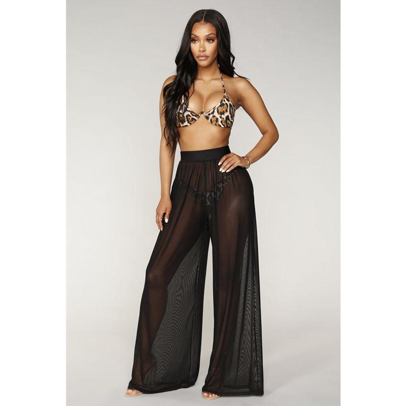 dc9b5d0a3870f New Fashion Women High Waist Mesh Wide Leg Pants Beach Wear Bikini Cover Up  Swimwear Transparent Long Pants Trousers #widelegpants #pant #pants #capris  #new ...