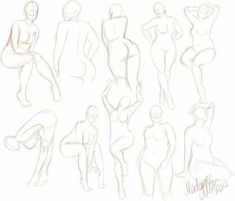 Curvy naked woman sketch