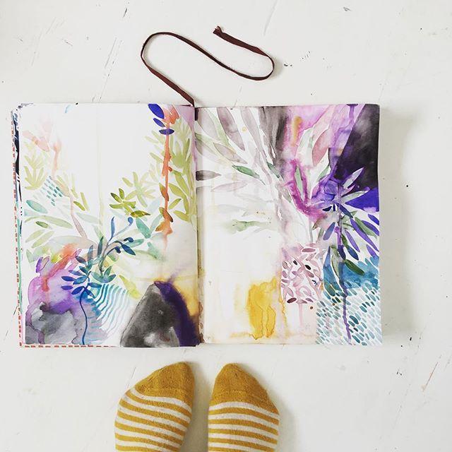 Sketchbook and socks #sketchbook #watercolour #colour #pattern #favourite socks #art #artist