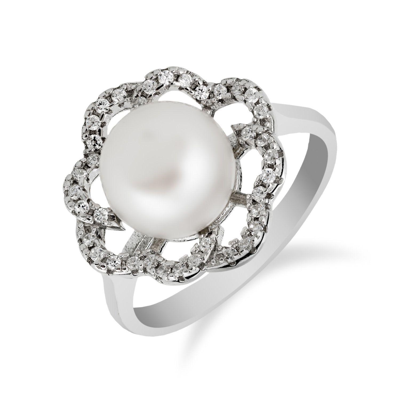 Freshwater Pearl Flower Ring In 925 Sterling Silver With Cubic Etsy In 2020 Silver Rings Handmade Bridal Earrings Drop 925 Silver Rings