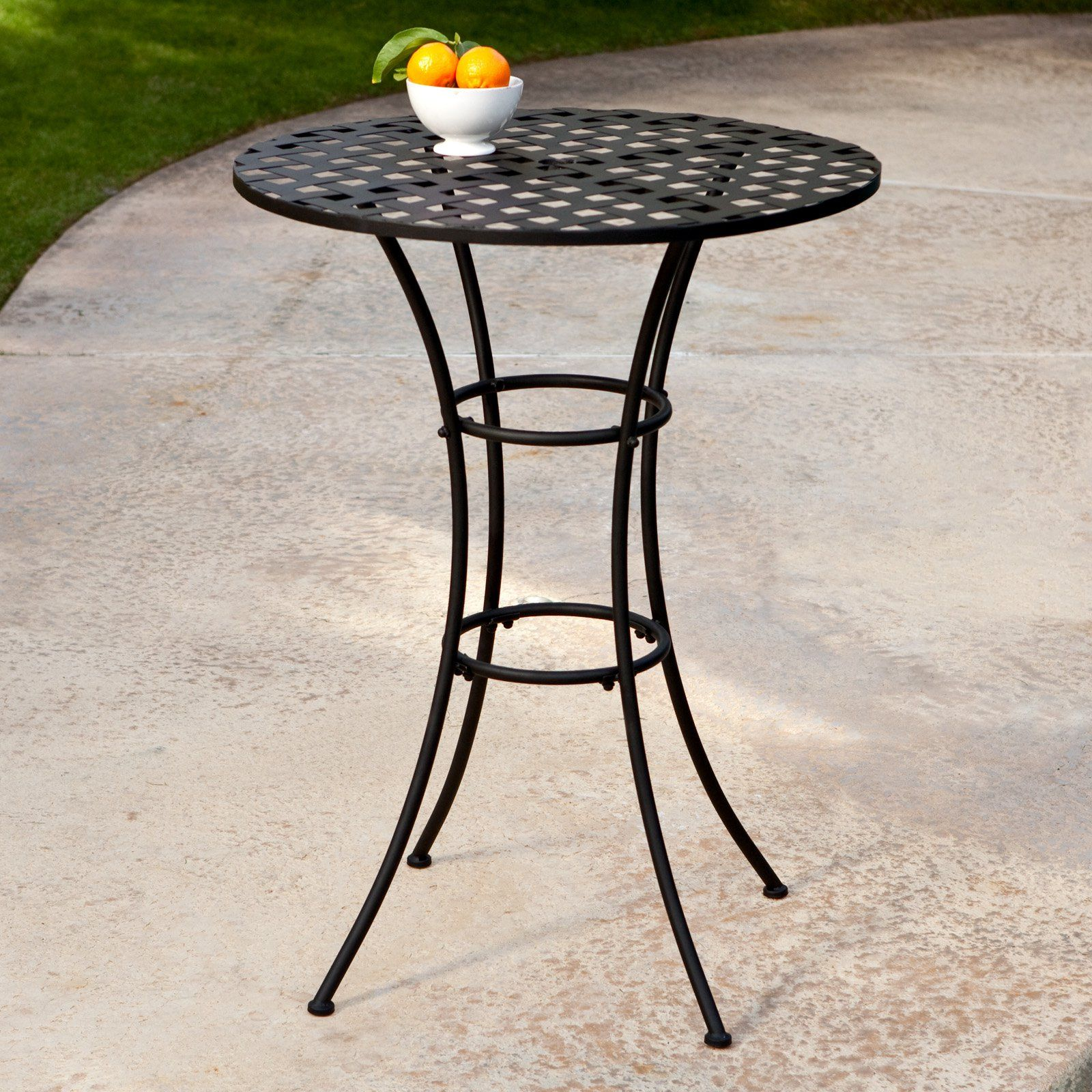 Belham Living Capri Wrought Iron Bar Height Bistro Table By
