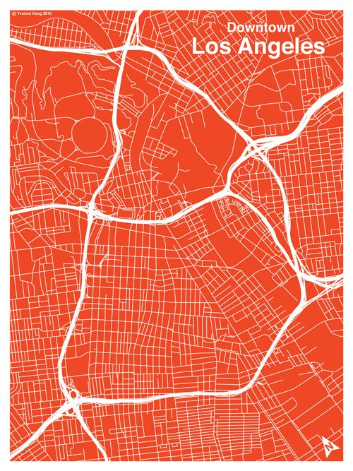 a73a03408 Downtown Los Angeles Map | City Grid Poster | Grids | Map design ...