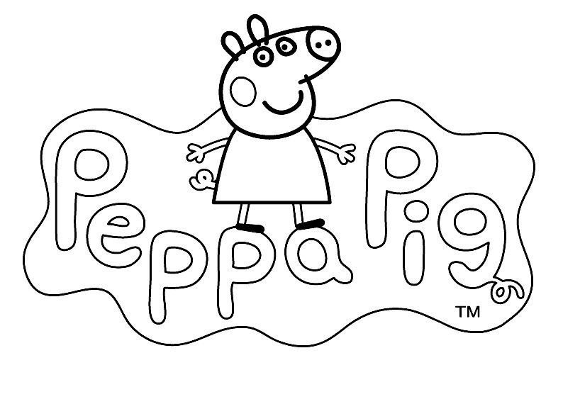 LOGO to color PEPPA PIG cartoon Kids Pages for free coloring and