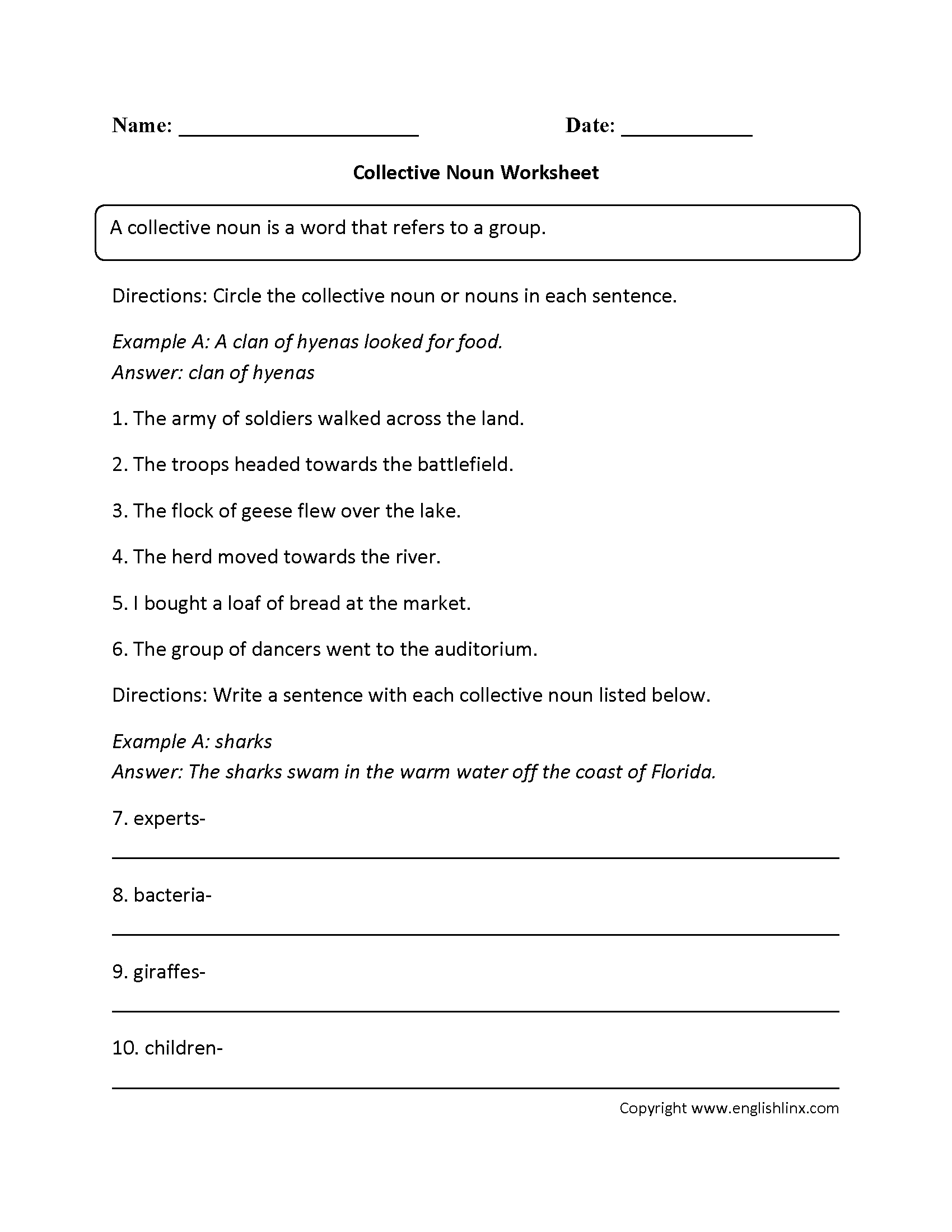 FillIn Collective Nouns Worksheet Writing – Army Body Fat Worksheet