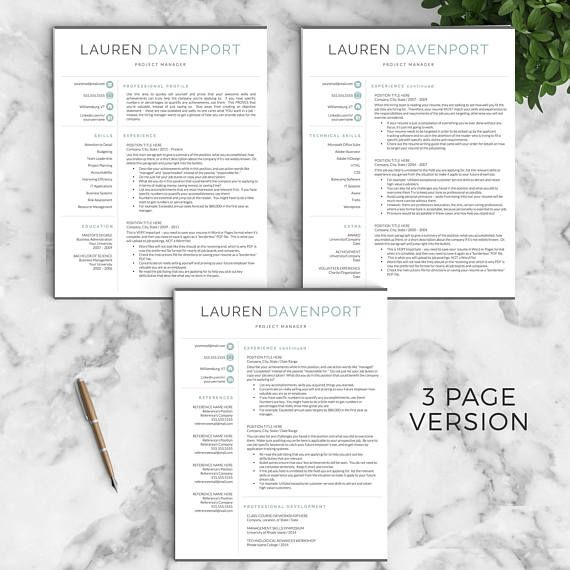References Page Resume Modern Resume Template For Word And Pages  Creative Modern Resume .