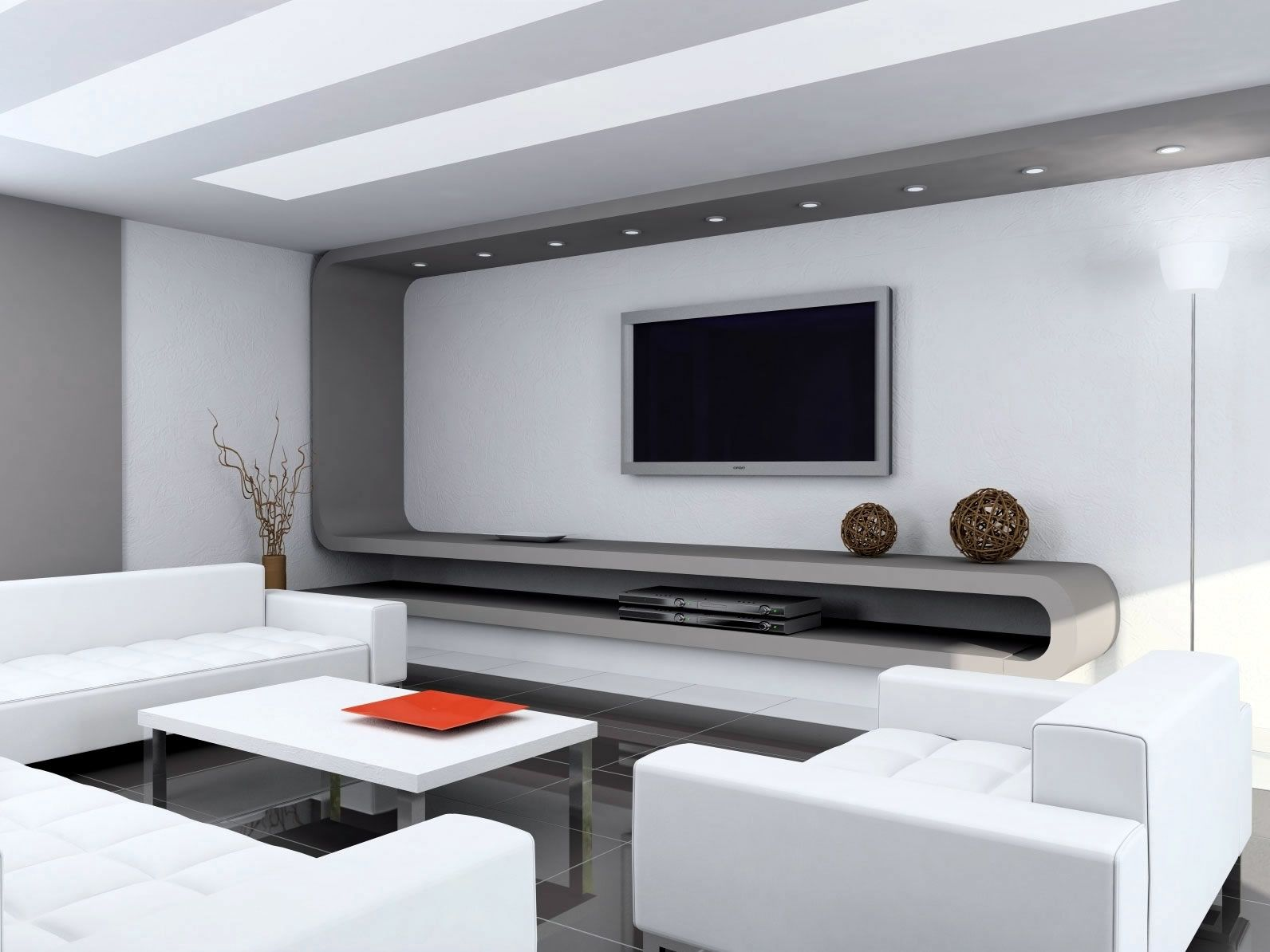 Furniture Minimalist Interior Decoration In Home With Wonderful Tv Wall Units And Modern White Sofas Also Beautiful Table Plus Cool Stainless Legs On