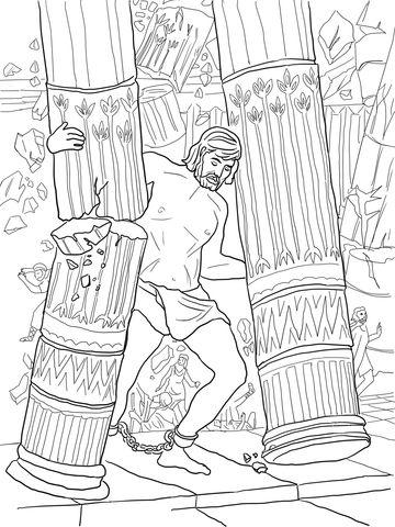 Samson Pushing Down Pillars coloring page from Samson