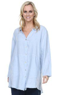 b4aa236af0c6e1 Match Point Collared Button Up Swingy Tunic Jacket